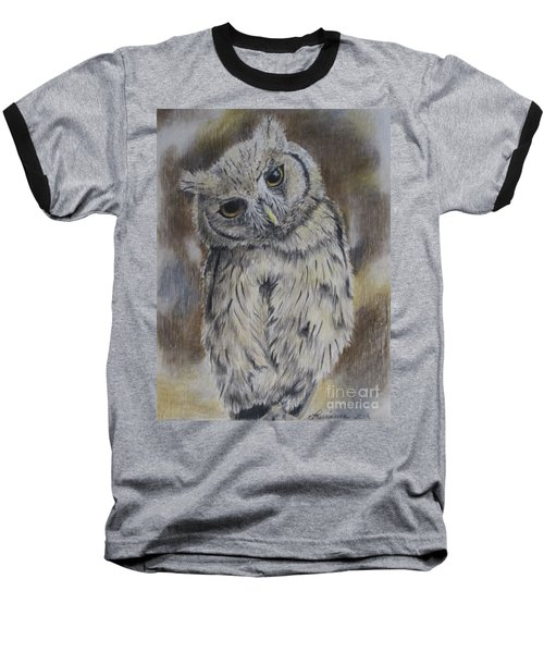 Baseball T-Shirt featuring the drawing Owl by Laurianna Taylor