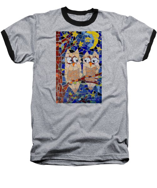Baseball T-Shirt featuring the painting Owl Mosaic by Lou Ann Bagnall