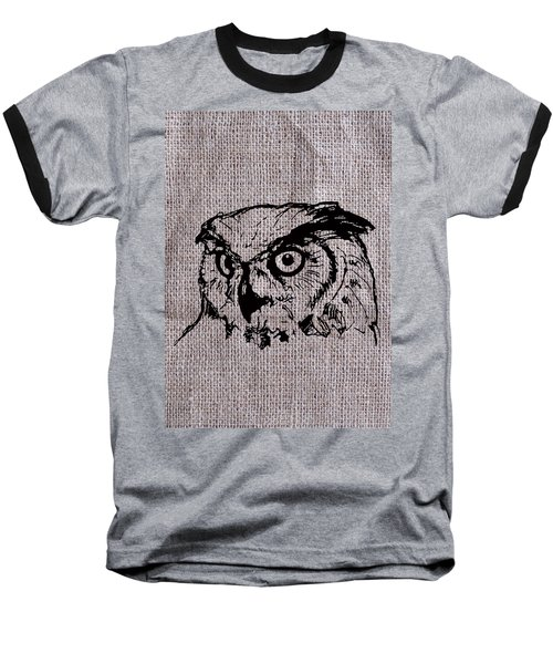 Owl On Burlap Baseball T-Shirt