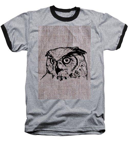 Owl On Burlap Baseball T-Shirt