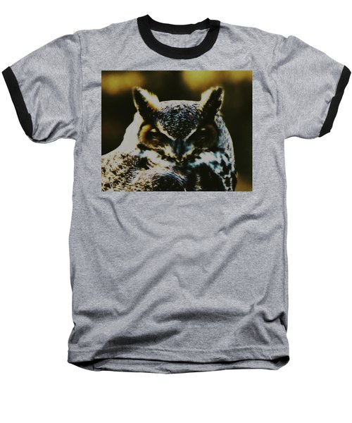Owl Portrait Baseball T-Shirt