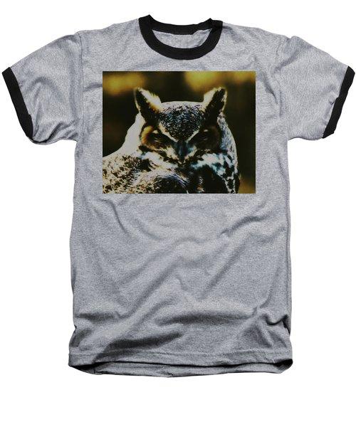 Owl Portrait Baseball T-Shirt