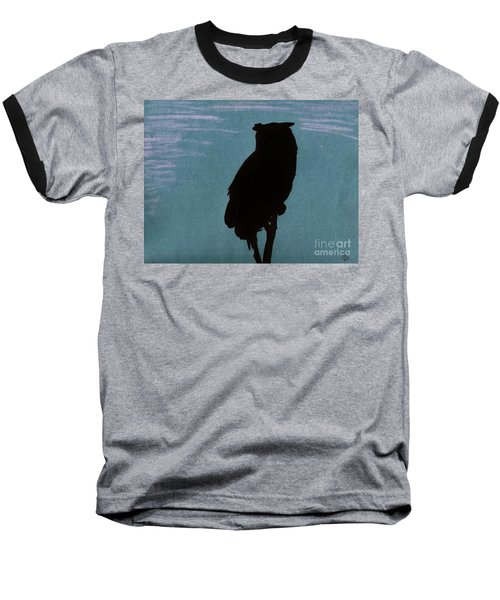 Baseball T-Shirt featuring the drawing Owl Silhouette by D Hackett