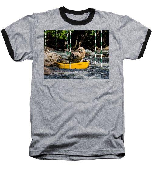 Owlets In A Canoe Baseball T-Shirt by Les Palenik