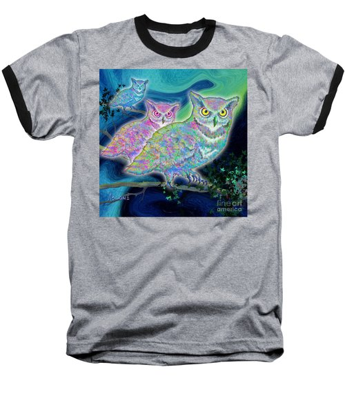 Baseball T-Shirt featuring the painting Owls At Midnight  Square by Teresa Ascone