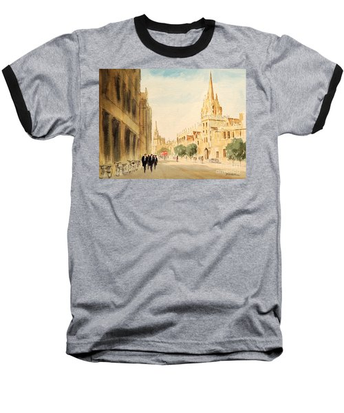 Baseball T-Shirt featuring the painting Oxford High Street by Bill Holkham
