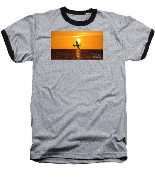 P-51 Sunset Baseball T-Shirt by John Black