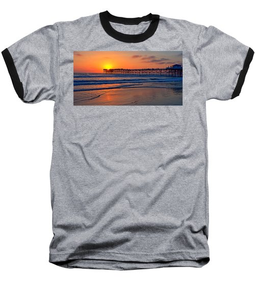 Pacific Beach Pier - Ex Lrg - Widescreen Baseball T-Shirt by Peter Tellone