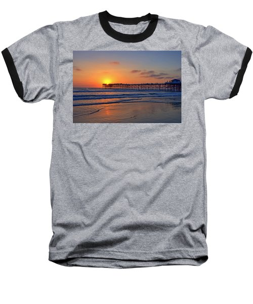 Pacific Beach Pier Sunset Baseball T-Shirt by Peter Tellone