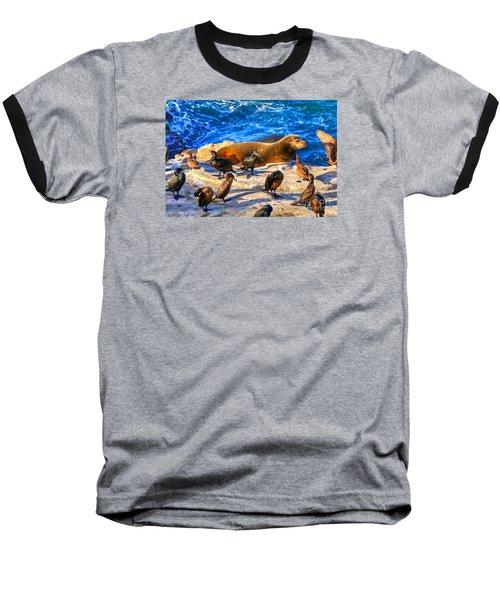 Pacific Harbor Seal Baseball T-Shirt by Jim Carrell