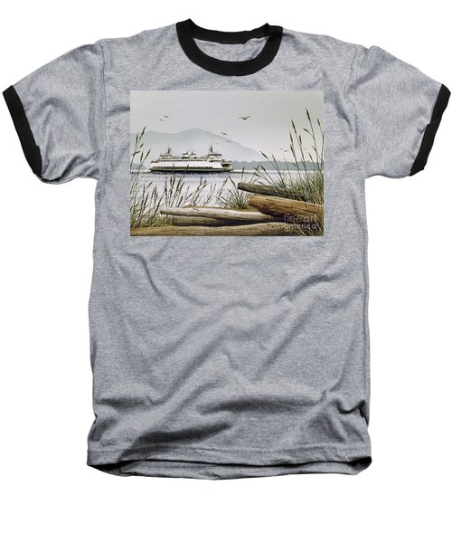Pacific Northwest Ferry Baseball T-Shirt by James Williamson