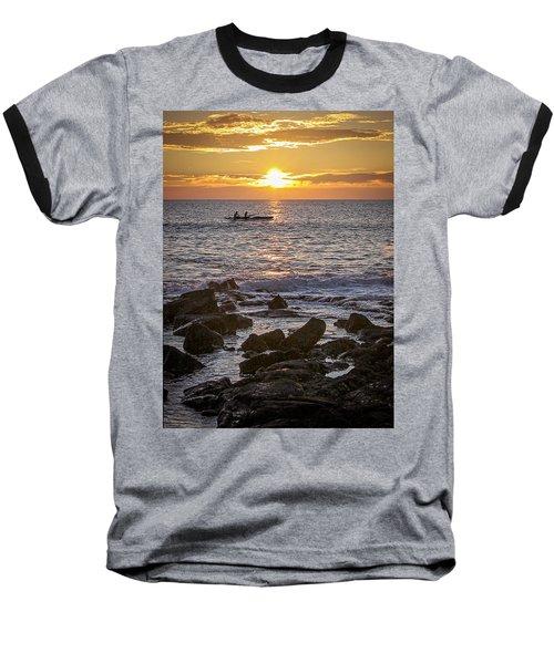 Paddlers At Sunset Portrait Baseball T-Shirt