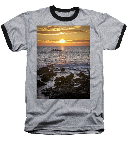 Paddlers At Sunset Portrait Baseball T-Shirt