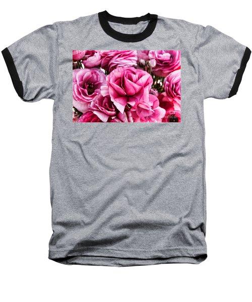 Paint Me Pink Ranunculus Flowers By Diana Sainz Baseball T-Shirt