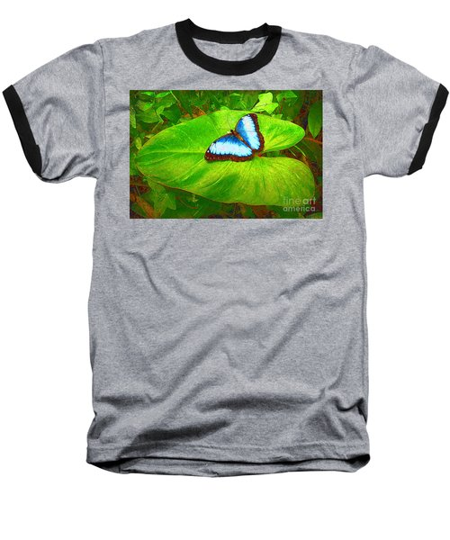 Baseball T-Shirt featuring the photograph Painted Blue Morpho by Teresa Zieba