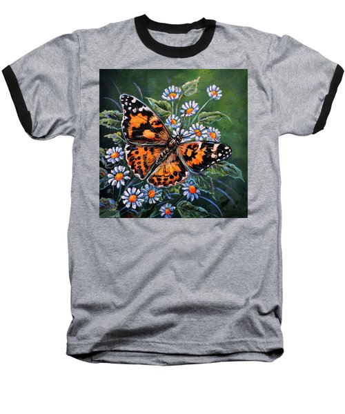 Painted Lady Baseball T-Shirt by Gail Butler