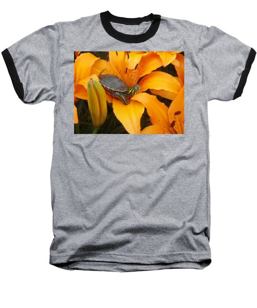 Painted Lilly Baseball T-Shirt by James Peterson