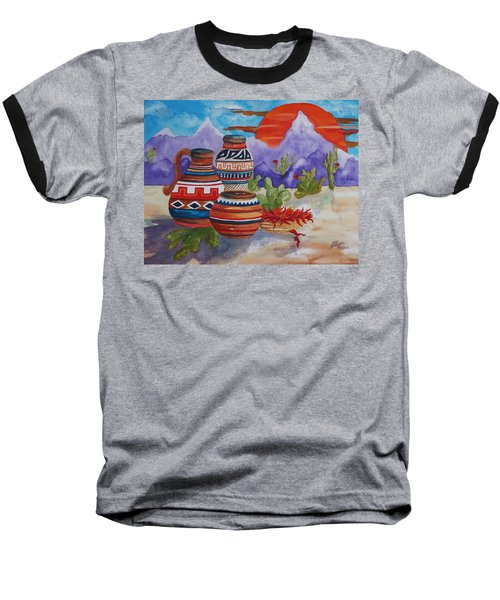Painted Pots And Chili Peppers Baseball T-Shirt by Ellen Levinson