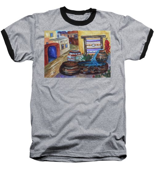 Painted Pots And Chili Peppers II  Baseball T-Shirt by Ellen Levinson