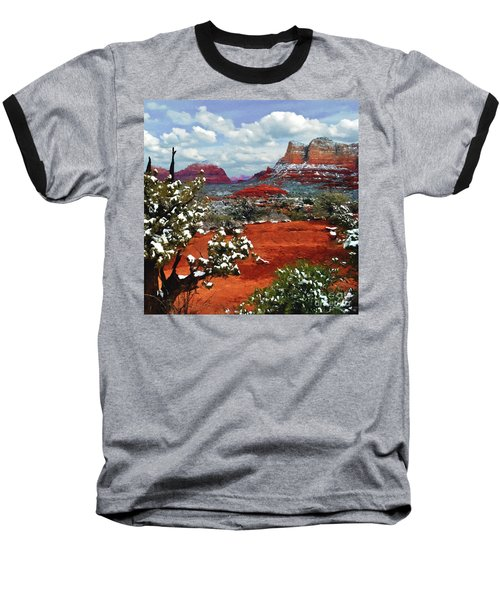 Painting Secret Mountain Wilderness Sedona Arizona Baseball T-Shirt