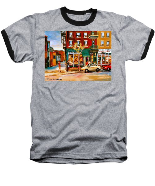 Paintings Of  Famous Montreal Places St. Viateur Bagel City Scene Baseball T-Shirt