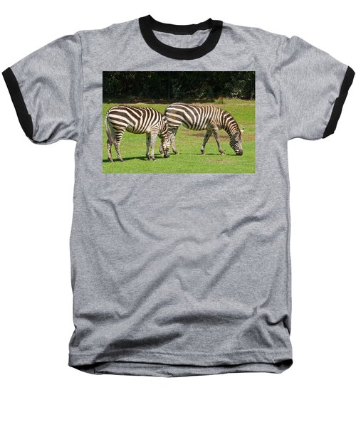 Baseball T-Shirt featuring the photograph Pair Of Zebras by Charles Beeler