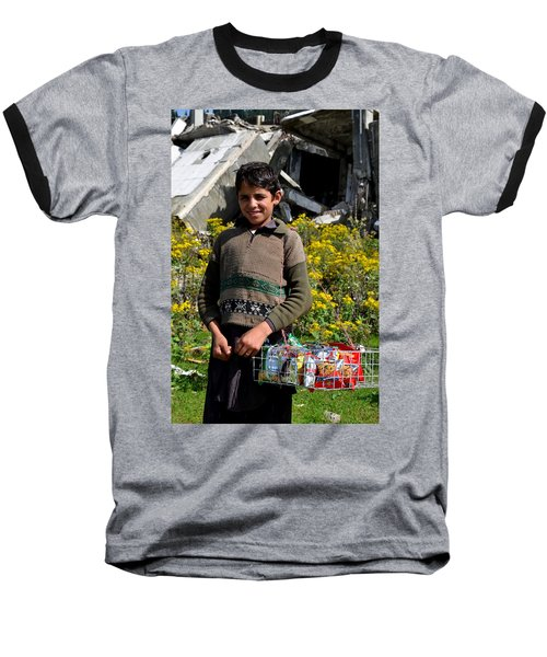Baseball T-Shirt featuring the photograph Pakistani Boy In Front Of Hotel Ruins In Swat Valley by Imran Ahmed