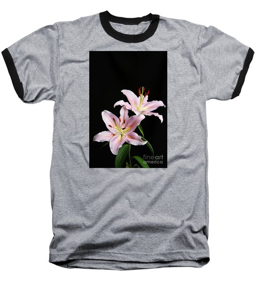 Pale Pink Asiatic Lilies Baseball T-Shirt by Judy Whitton
