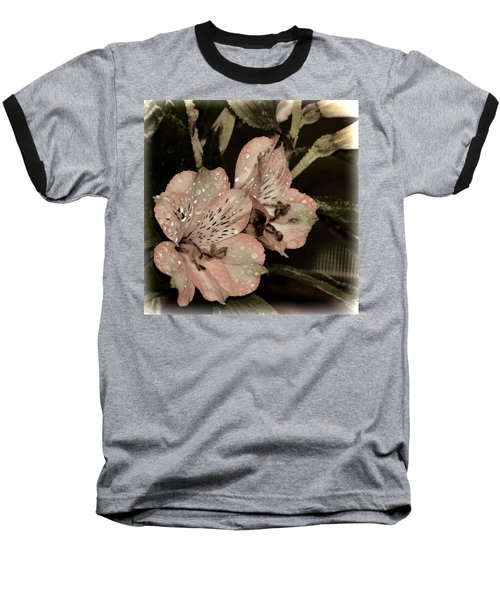 Pale Pink Lilies On Dark Background Baseball T-Shirt