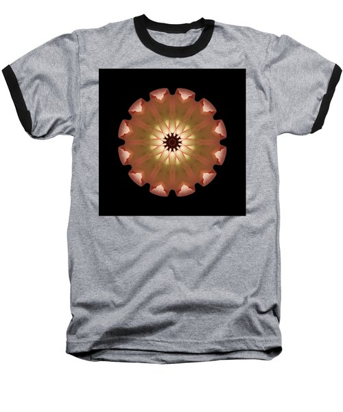 Pale Pink Tulip Flower Mandala Baseball T-Shirt by David J Bookbinder