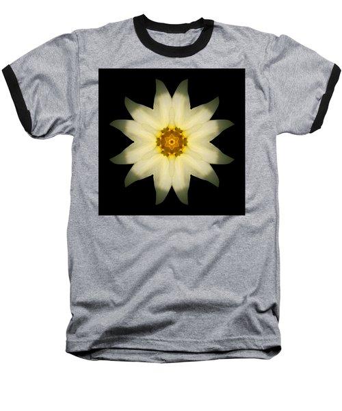 Pale Yellow Daffodil Flower Mandala Baseball T-Shirt