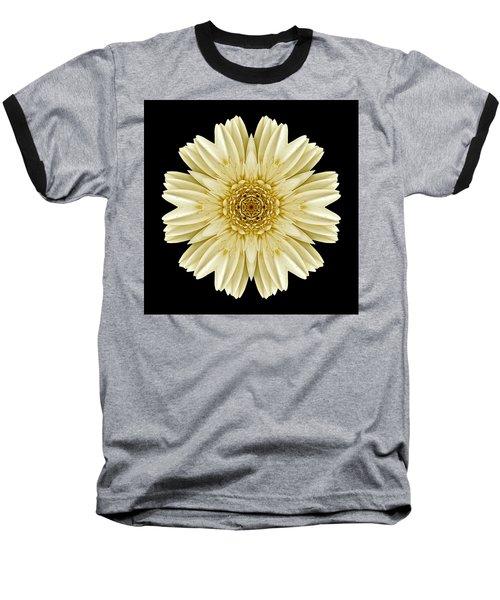 Baseball T-Shirt featuring the photograph Pale Yellow Gerbera Daisy IIi Flower Mandala by David J Bookbinder
