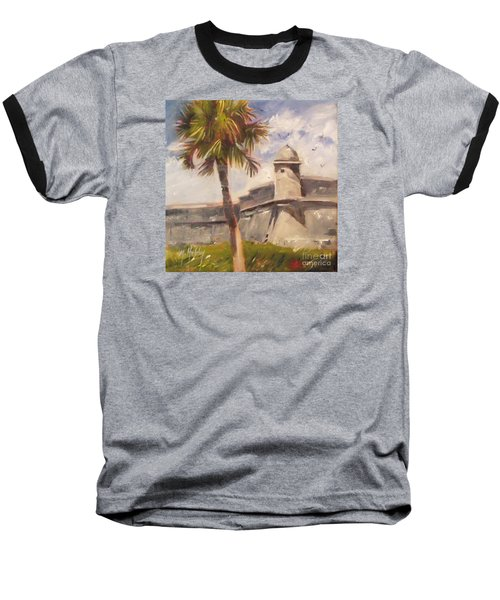 Palm At St. Augustine Castillo Fort Baseball T-Shirt by Mary Hubley