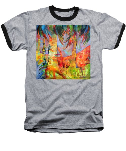 Baseball T-Shirt featuring the painting Palm Jungle by Elizabeth Fontaine-Barr
