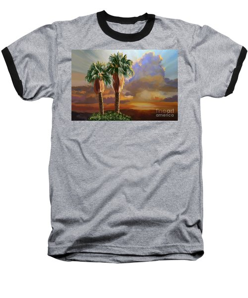 Baseball T-Shirt featuring the painting Palm Tree Cabo Sunset by Tim Gilliland