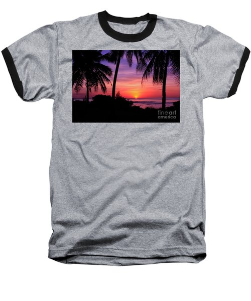 Palm Tree Sunset In Paradise Baseball T-Shirt by Scott Cameron