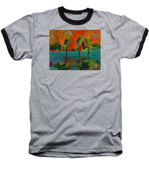 Baseball T-Shirt featuring the painting Palm Trio Sunset by Elizabeth Fontaine-Barr