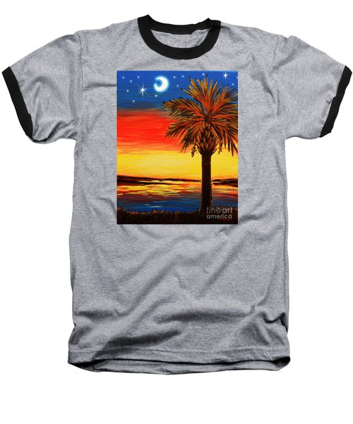 Baseball T-Shirt featuring the painting Palmetto Moon And Stars by Patricia L Davidson