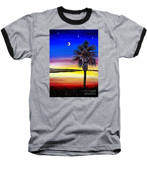 Palmetto Sunset Moon And Stars Baseball T-Shirt by Patricia L Davidson
