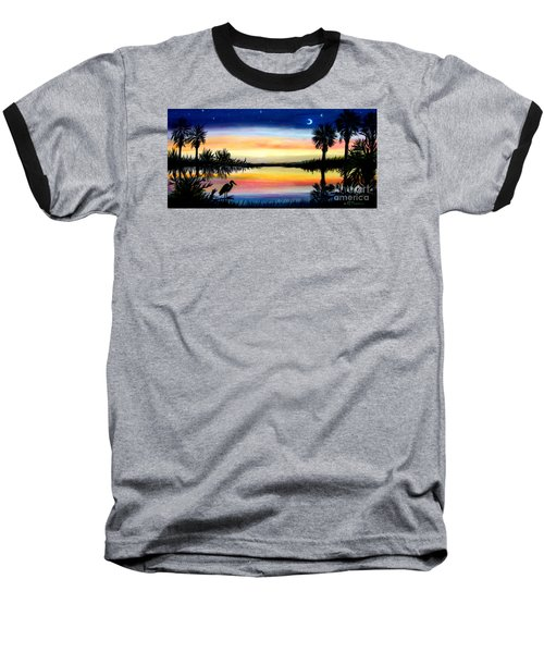 Palmetto Tree Moon And Stars Low Country Sunset IIi Baseball T-Shirt by Patricia L Davidson