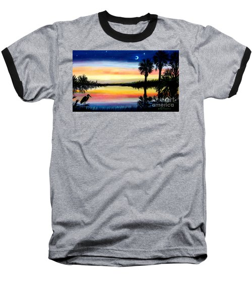 Palmetto Tree Moon And Stars Low Country Sunset IIi Baseball T-Shirt