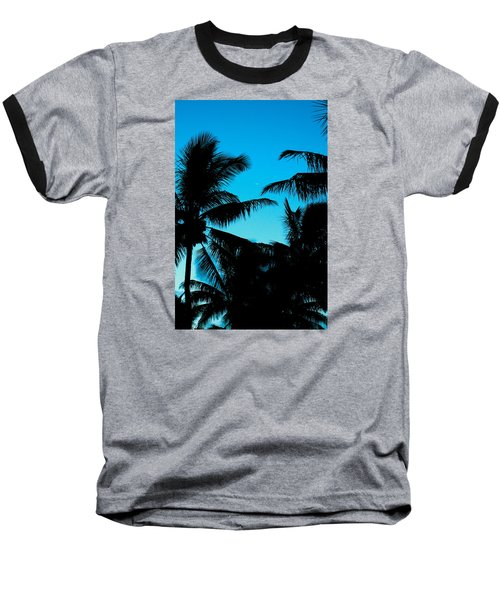 Baseball T-Shirt featuring the photograph Palms At Dusk With Sliver Of Moon by Lehua Pekelo-Stearns