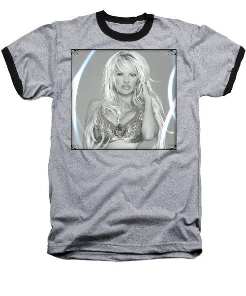 Baseball T-Shirt featuring the digital art Pamela Anderson - Angel Rays Of Light by Absinthe Art By Michelle LeAnn Scott
