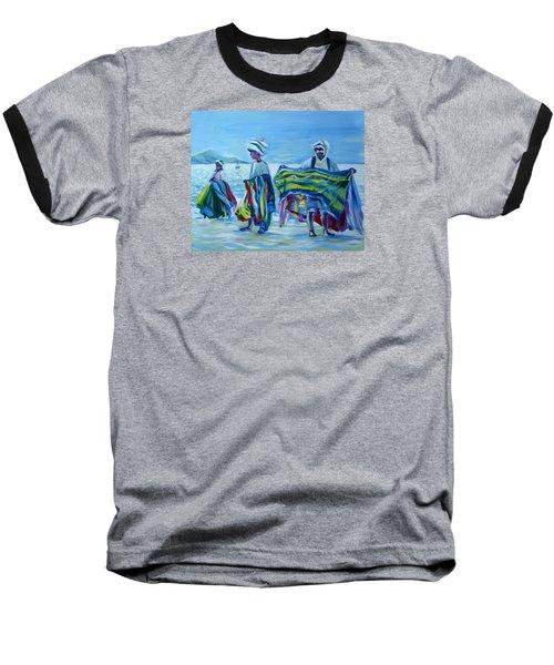 Baseball T-Shirt featuring the painting Panama.beach Market by Anna  Duyunova