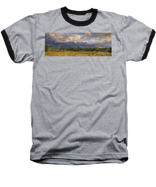 Baseball T-Shirt featuring the photograph Panaroma Clearing Storm On A Fall Morning In Grand Tetons National Park by Dave Welling