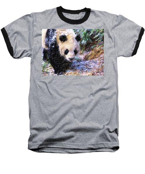 Panda Bear Walking In Forest Baseball T-Shirt by Lanjee Chee