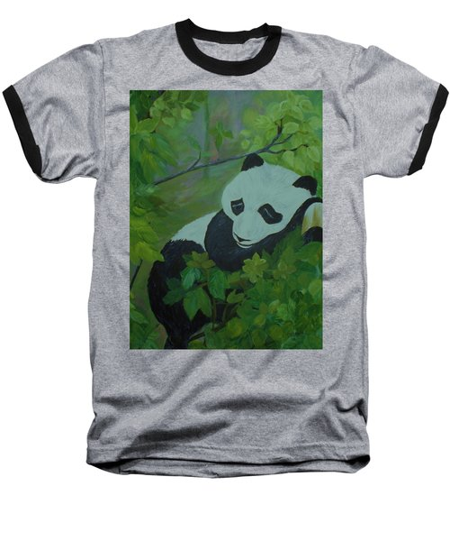 Baseball T-Shirt featuring the painting Panda by Christy Saunders Church