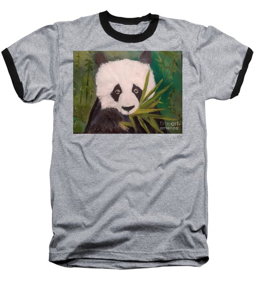 Baseball T-Shirt featuring the painting Panda by Jenny Lee