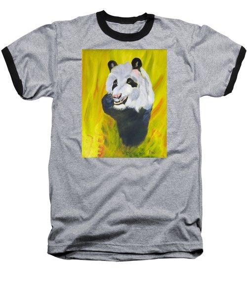 Baseball T-Shirt featuring the painting Panda-monium by Meryl Goudey