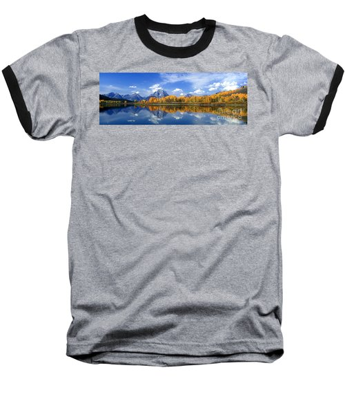 Panorama Fall Morning At Oxbow Bend Grand Tetons National Park Baseball T-Shirt by Dave Welling